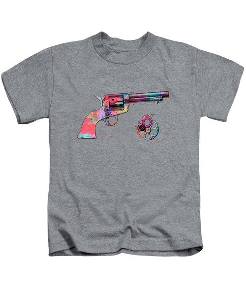 Colorful 1875 Colt Peacemaker Revolver Patent Minimal Kids T-Shirt