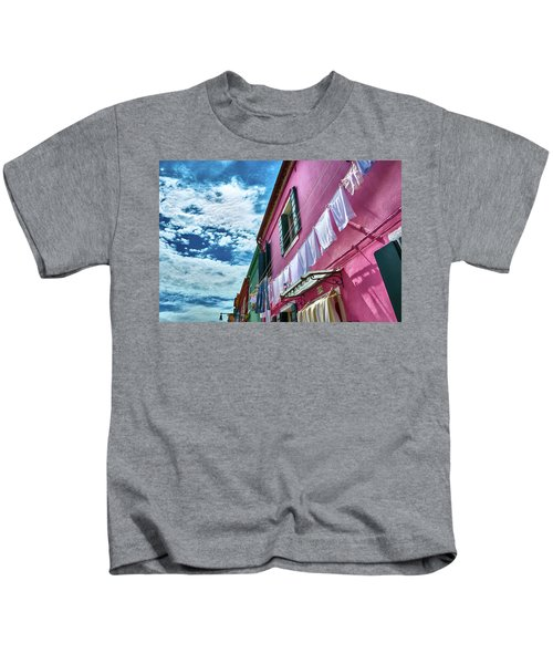 Colorful Facade With Laundry In Burano Kids T-Shirt