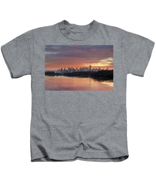 Colorful Sunset Over Vancouver Bc Downtown Skyline Kids T-Shirt