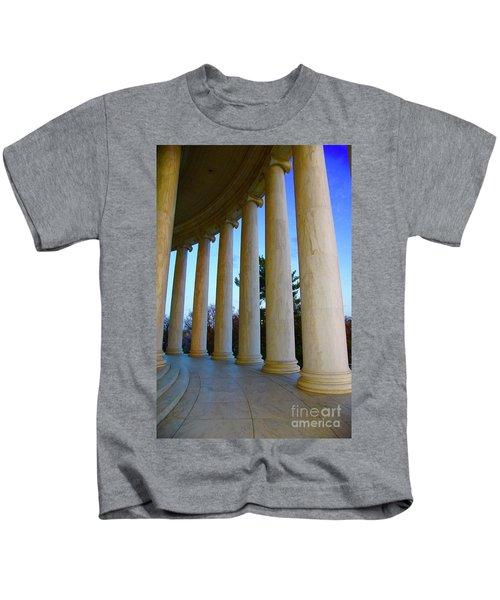 Columns At Jefferson Kids T-Shirt by Megan Cohen