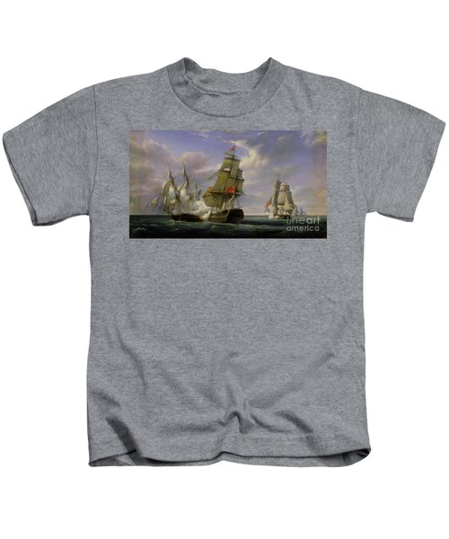 Combat Between The French Frigate La Canonniere And The English Vessel The Tremendous Kids T-Shirt