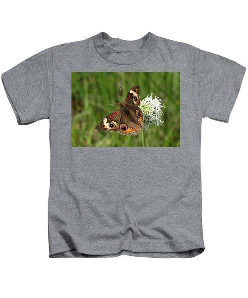Common Buckeye Butterfly On Wildflower Kids T-Shirt