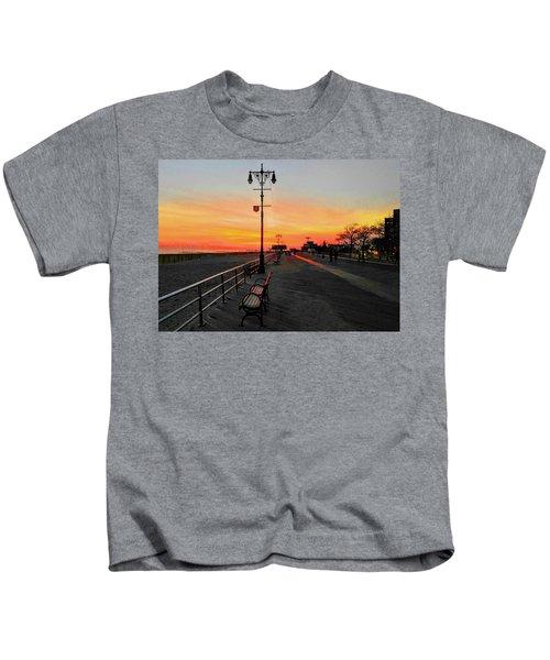 Coney Island Boardwalk Sunset Kids T-Shirt