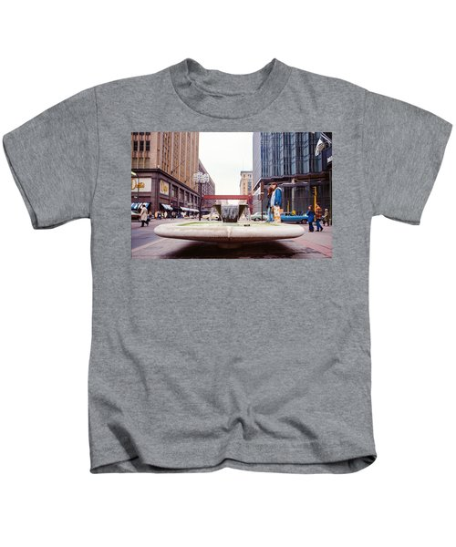 Contemplating The Fountain At 8th And Nicollet. Kids T-Shirt