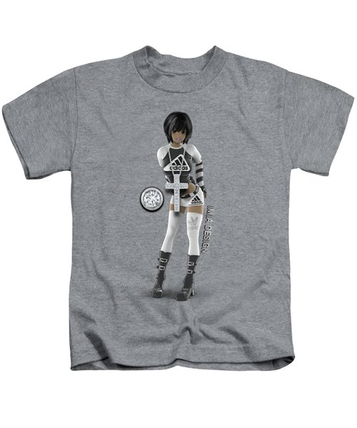 Cool 3d Girl In Black And White Kids T-Shirt