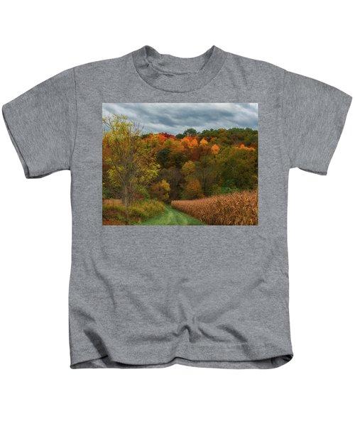 Cornfield In Fall  Kids T-Shirt