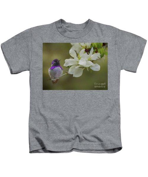 Costas Hummingbird On An Anacacho Orchid Branch Kids T-Shirt