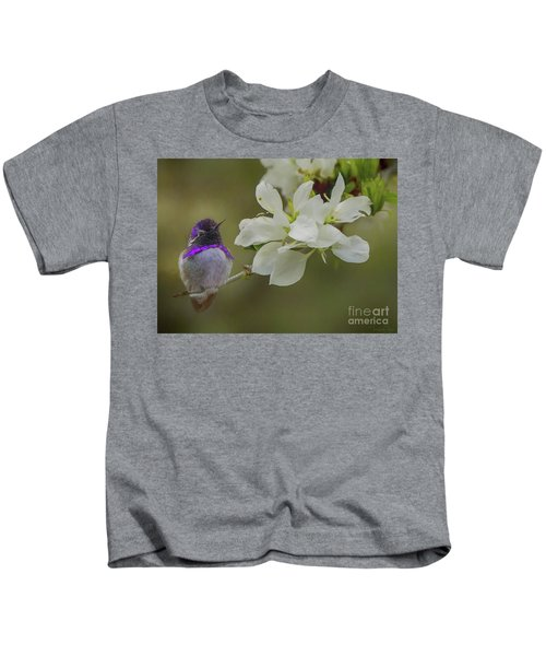 Costas Hummingbird On An Anacacho Orchid Branch Kids T-Shirt