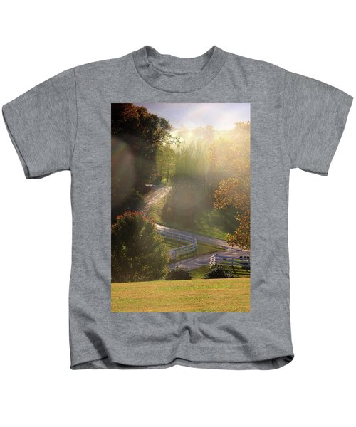 Country Road In Rural Virginia, With Trees Changing Colors In Autumn Kids T-Shirt