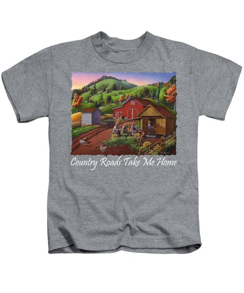 Country Roads Take Me Home T Shirt - Farmers Shucking Corn - Corn Crib - Farm Landscape 2 Kids T-Shirt