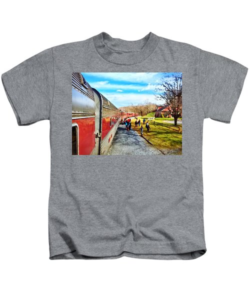 Kids T-Shirt featuring the photograph Country Train Depot by Chris Montcalmo