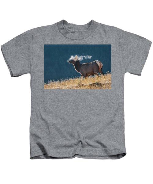 Cow Elk With Steamy Breath Kids T-Shirt