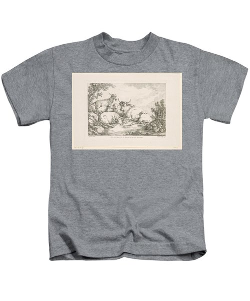 Cow With Sheep And Goats, Balthasar Anton Dunker, After Johann Heinrich Roos, 1769 - 1772 Kids T-Shirt