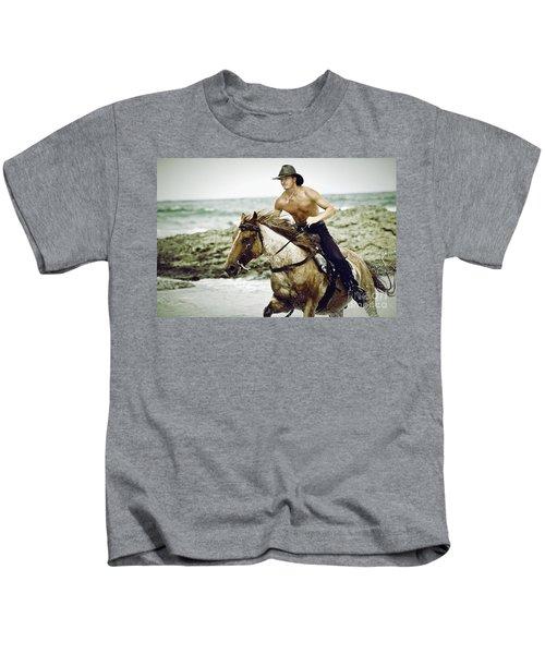 Cowboy Riding Horse On The Beach Kids T-Shirt