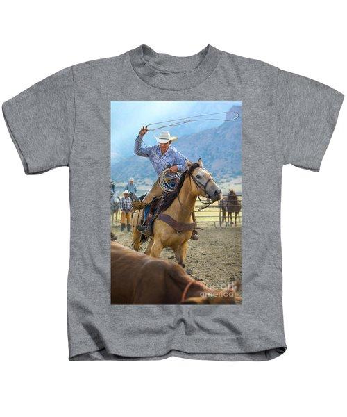 Cowboy Roping A Steer Kids T-Shirt