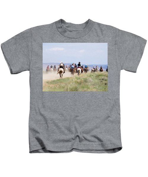 Cowboys And Cowgirls Riding Horses At The Sombrero Horse Drive Kids T-Shirt