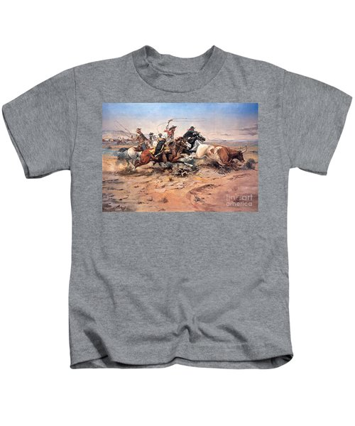 Cowboys Roping A Steer Kids T-Shirt