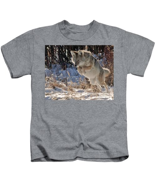 Coyote In Mid Jump Kids T-Shirt