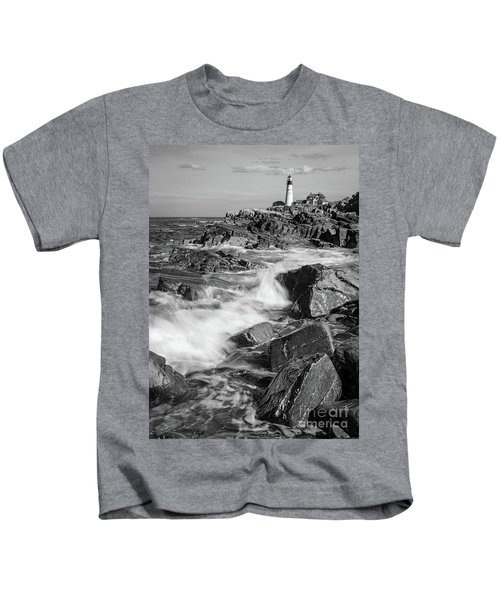 Crashing Waves, Portland Head Light, Cape Elizabeth, Maine  -5605 Kids T-Shirt