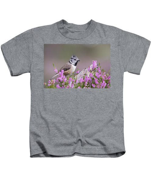 Crested Tit In Heather Kids T-Shirt
