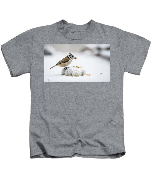 Crested Tit's Catch A Peanut Kids T-Shirt