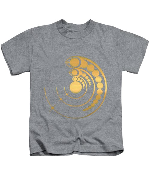 Crop Circle Formation Near Avebury Stone Circle In Wiltshire England In Gold Kids T-Shirt