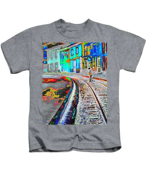 Crossing The Tracks Kids T-Shirt