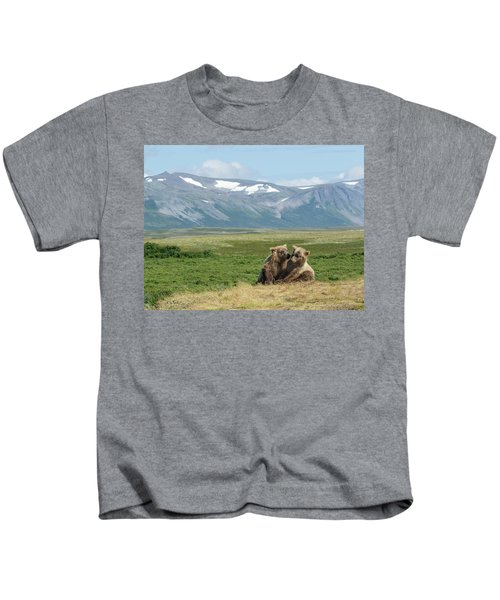 Cubs Playing On The Bluff Kids T-Shirt