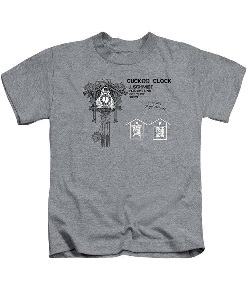 Cuckoo Clock Patent Art Kids T-Shirt by Justyna JBJart