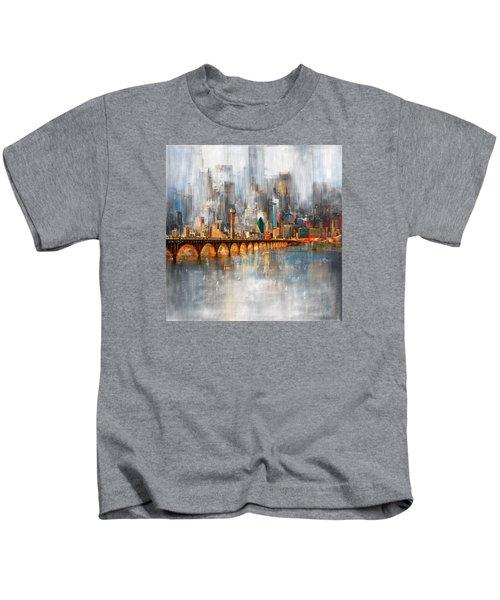 Dallas Skyline 217 1 Kids T-Shirt by Mawra Tahreem