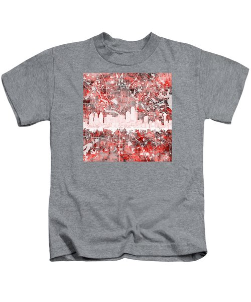 Dallas Skyline Map Red 2 Kids T-Shirt