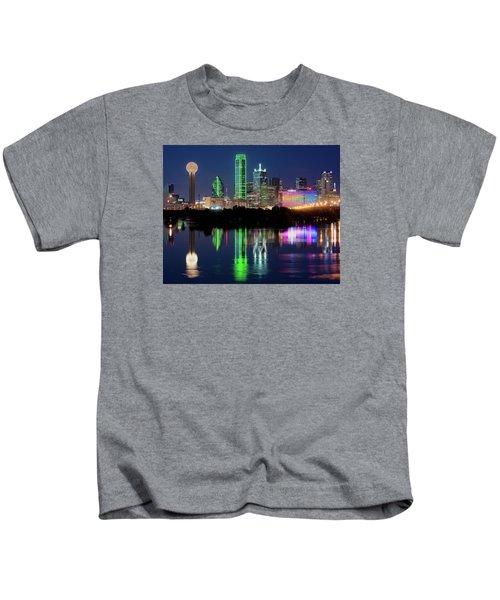 Dallas Skyline Reflection 91317 Kids T-Shirt