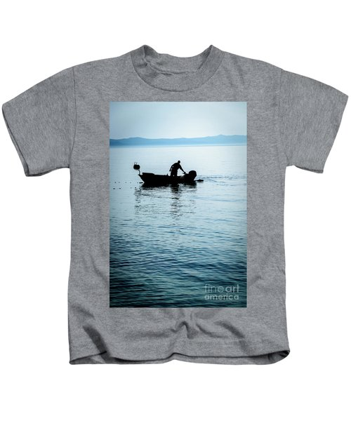 Dalmatian Coast Fisherman Silhouette, Croatia Kids T-Shirt