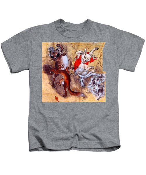 Japanese Meiji Period Dancing Feral Cat With Wild Animal Friends Kids T-Shirt by Peter Gumaer Ogden Collection