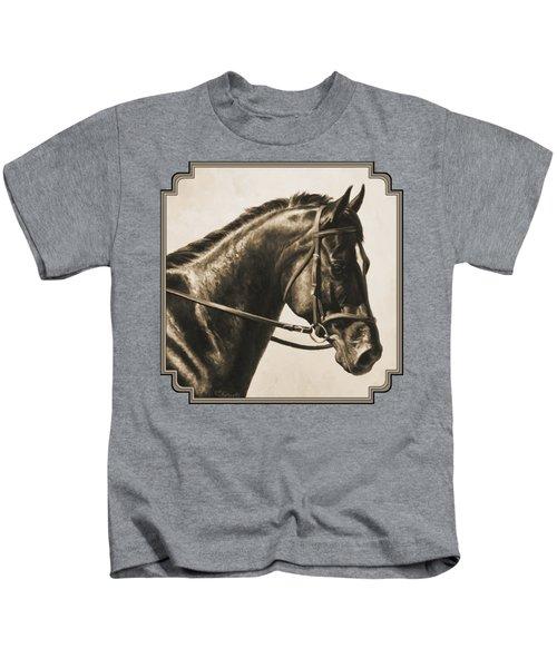 Dark Bay Dressage Horse Aged Photo Fx Kids T-Shirt