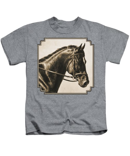 Dark Bay Dressage Horse Aged Photo Fx Kids T-Shirt