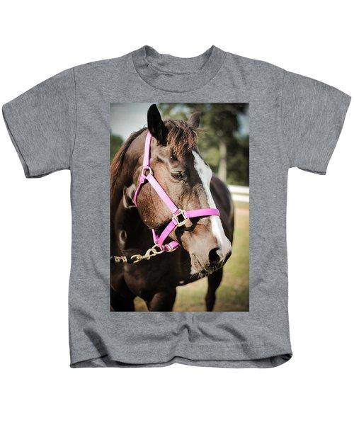 Dark Brown Horse In A Pink Bridle Kids T-Shirt