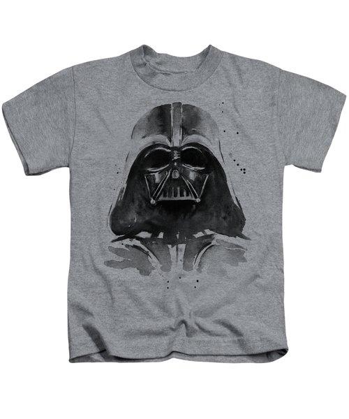 Darth Vader Watercolor Kids T-Shirt by Olga Shvartsur