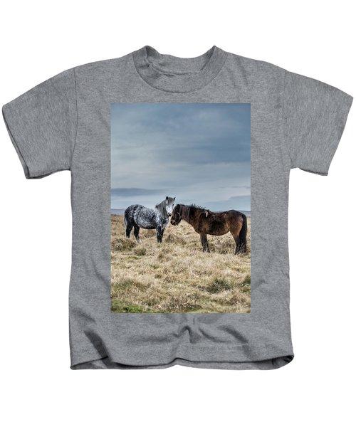 Dartmoor Ponies On Dartmoor Kids T-Shirt