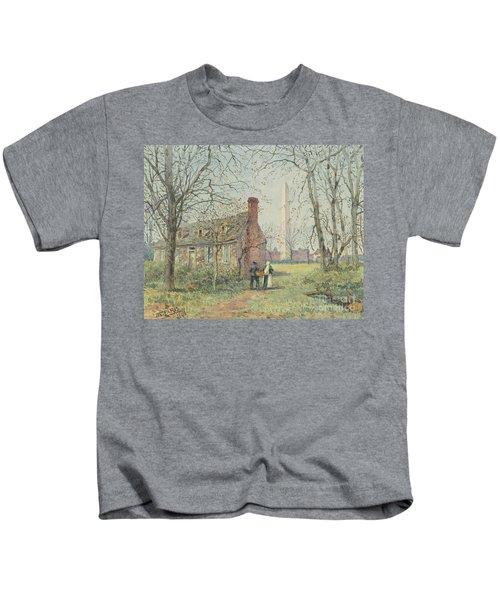 David Burns's Cottage And The Washington Monument, Washington Dc, 1892  Kids T-Shirt