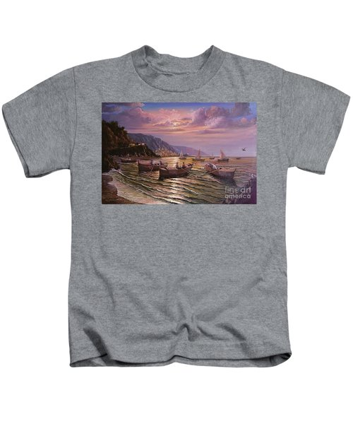 Day Ends On The Amalfi Coast Kids T-Shirt
