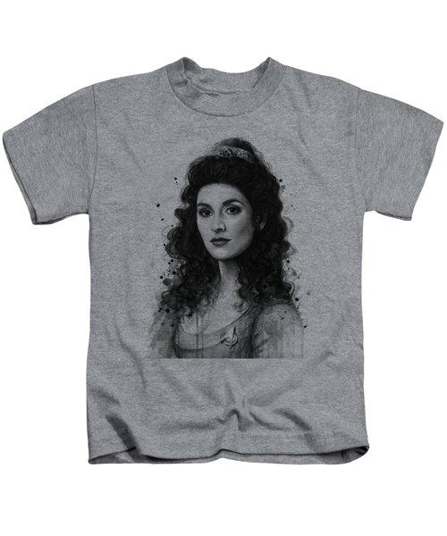 Deanna Troi - Star Trek Fan Art Kids T-Shirt by Olga Shvartsur