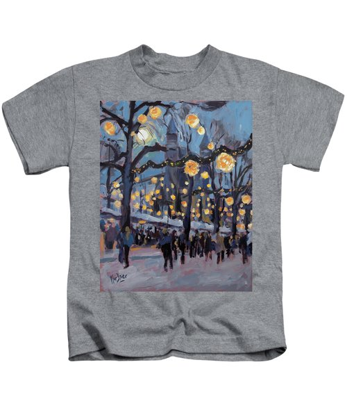 December Lights At The Our Lady Square Maastricht 1 Kids T-Shirt by Nop Briex