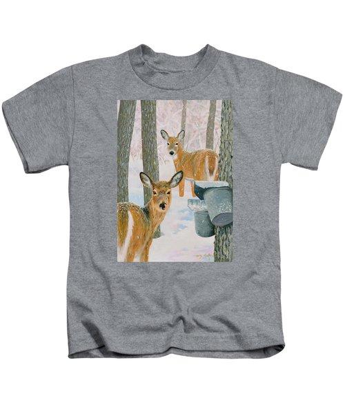 Deer And Sap Buckets Kids T-Shirt