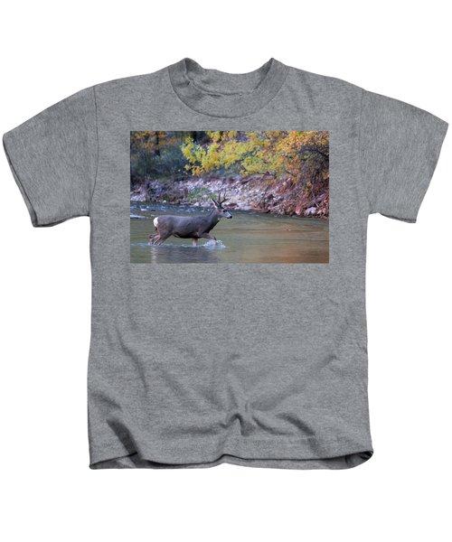 Deer Crossing River Kids T-Shirt