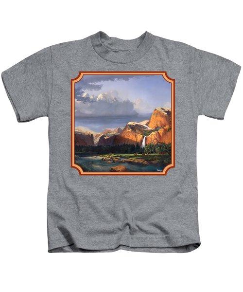 Deer Meadow Mountains Western Stream Deer Waterfall Landscape - Square Format Kids T-Shirt by Walt Curlee