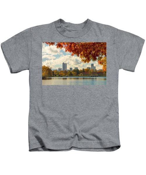 Denver Skyline Fall Foliage View Kids T-Shirt