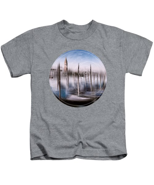 Digital-art Venice Grand Canal And St Mark's Campanile Kids T-Shirt by Melanie Viola