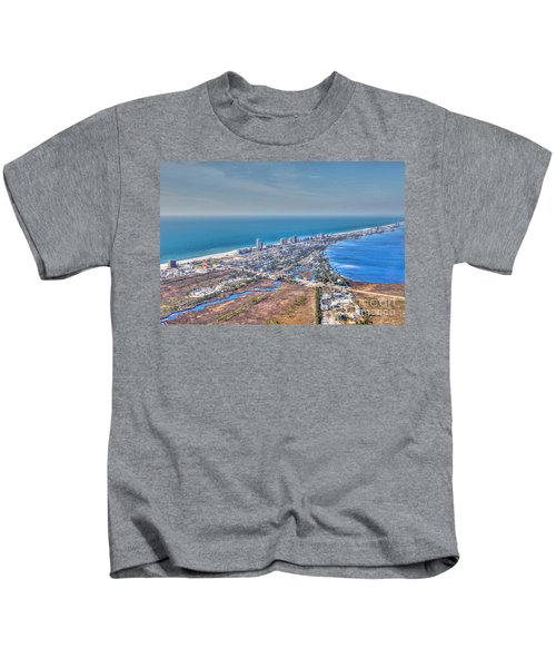 Distant Aerial View Of Gulf Shores Kids T-Shirt