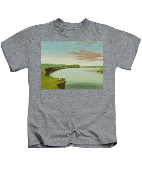Distant View Of The Mandan Village Kids T-Shirt